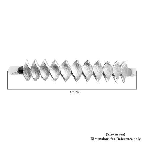 RACHEL GALLEY Rhodium Overlay Sterling Silver Sandblast Texture Leaf Design Bangle (Size 7.5), Silver wt. 21.79 Gms