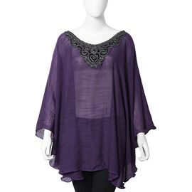 Silver Colour Embroidered Collar Poncho With Half Round Shape in Purple Colour (Size 73.5x53 Cm)