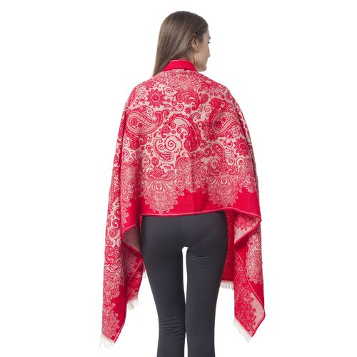 Designer Inspired-Red and Beige Colour Paisley and Floral Pattern Scarf with Tassels (Size 190x67 Cm)