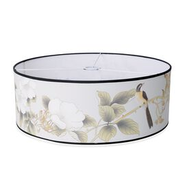 Linen Look Floral and Birds Printed Lamp Shade with Gold Rim (50 cm Diameter)