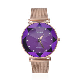 JOWISSA SWISS Ronda Diamond Cut and Crystal Studded Purple Enamel Dial FACET Watch with Rose Gold To