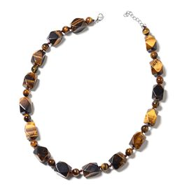 One Time Mega Deal- Tigers Eye Beads Necklace (Size 18 with 1.5 Inch Extender) in Silver Tone 460.000 Ct.