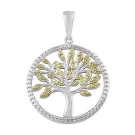 Designer Inspired- Green Diamond Pendant in Platinum Overlay Sterling Silver
