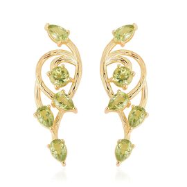 Hebei Peridot (Rnd) Earrings (with Push Back) in Yellow Gold Overlay Sterling Silver 4.750 Ct.