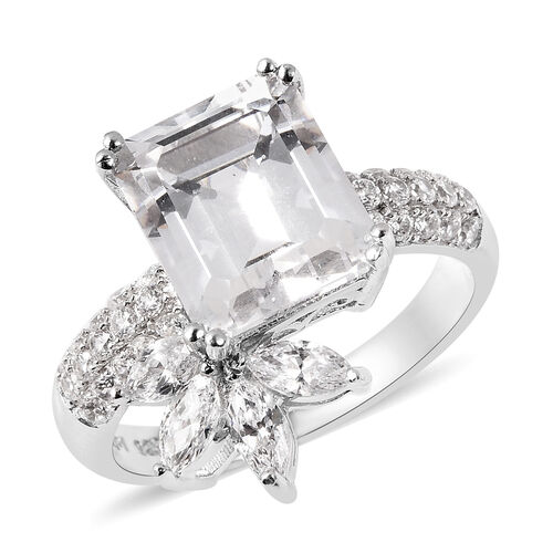 J Francis Rhodium Overlay Sterling Silver Ring Made with SWAROVSKI ZIRCONIA 10.00 Ct, Silver wt. 4.0
