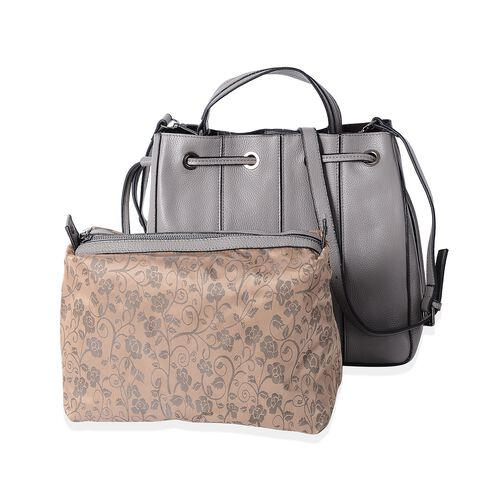 Set of 2 - 100% Genuine Leather Grey Colour Satchel Bag with Removable Shoulder Strap (Size 29x26.5x