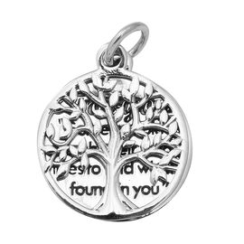Tree of Life and Engraved Pendant in Sterling Silver