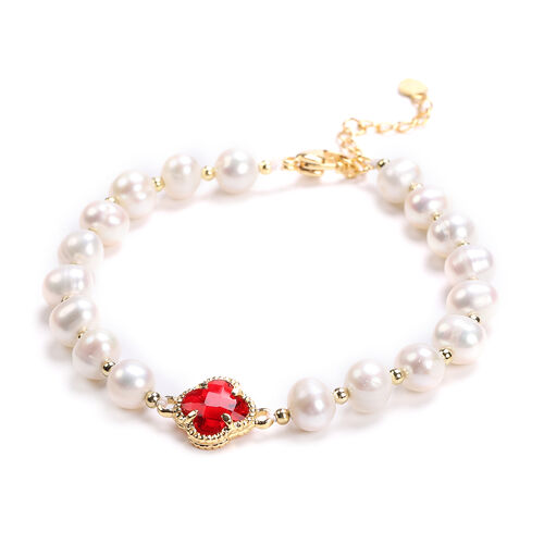 White Freshwater Pearl and Simulated Ruby Floral Charm Bracelet (Size 7.5 with 1.5 inch Extender) in Yellow Gold Tone