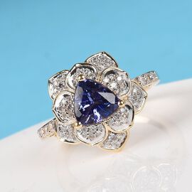 GP 9K Yellow Gold AAA Tanzanite, Natural Diamond (I3/G-H) and Blue Sapphire Lotus Ring 1.22 Ct. Gold Wt 4.02 Grams