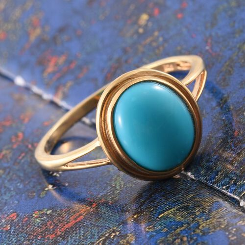 Arizona Sleeping Beauty Turquoise (Ovl) Solitaire Ring in 14K Gold Overlay Sterling Silver 3.000 Ct.
