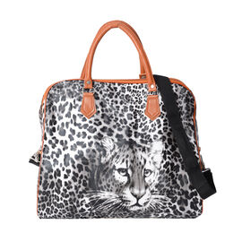 White and Black Colour Leopard Pattern Water Resistant Weekend Bag (Size 43x16x38 Cm) with Detachabl