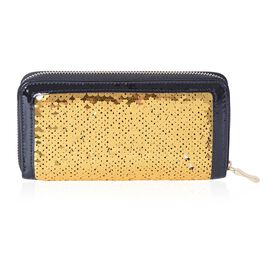 Gold and Black Colour Sequins Adorned Wallet (Size 18.5x9.5x2 Cm)