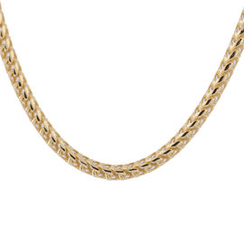 Italian Made - Yellow Gold Overlay Sterling Silver Franco Necklace (Size 22), Silver wt 37.58 Gms