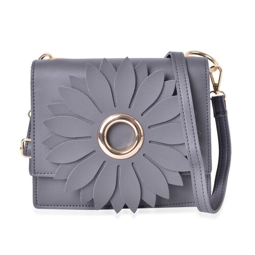 Sunflower Adorned Dark Grey Colour Crossbody Bag with Adjustable and Removable Shoulder Strap (Size 19x17x6.5 Cm)
