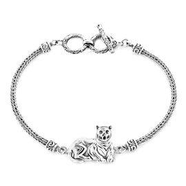 Royal Bali Collection - Sterling Silver Tiger Tulang Naga Toggle Bar Bracelet (Size 7.5 with Extende