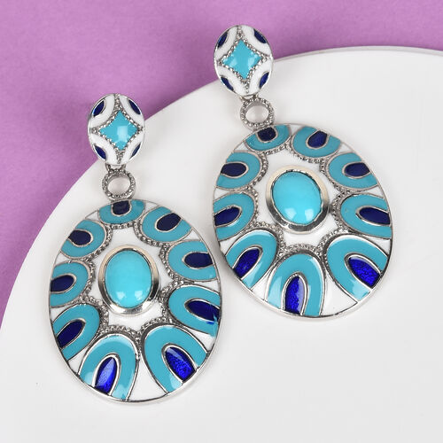 Arizona Sleeping Beauty Turquoise Enamelled Earrings in Platinum Overlay Sterling Silver 2.00 Ct, Silver wt 11.00 Gms