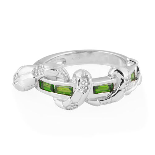 Russian Diopside (Bgt), Serpentine Ring in Rhodium Overlay Sterling Silver  3.200 Ct, Silver wt 6.11 Gms.
