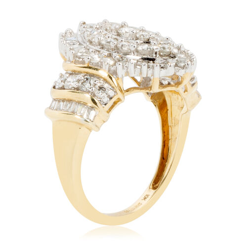 New York CloseOut Deal-9K Yellow and White Gold Diamond (Rnd) (I3/G-H) Ring 1.639 Ct.Gold Wt 4.70 Gms.