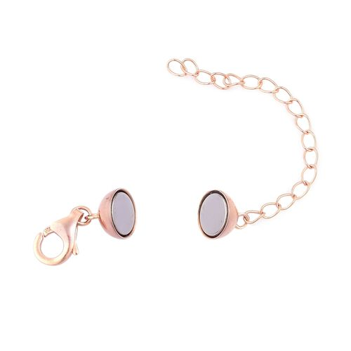 Rose Gold Overlay Sterling Silver Magnetic Lock (Size 8 mm) with Lobster Clasp (Size 11 mm)