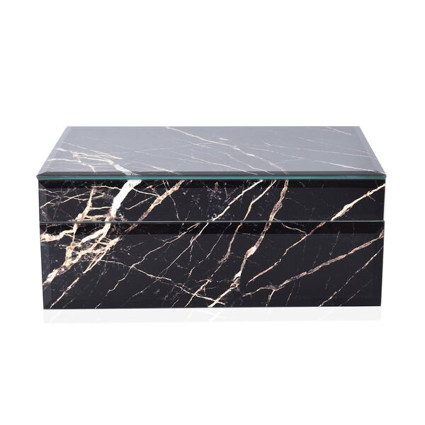 Marble Glass Jewellery Storage Box with Inside Mirror, 7 Ring Rows, 4 Necklace Hook with Pouch and 4 Sections (Size 21x13x8.5 Cm) - Black Moonstone