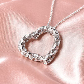 RACHEL GALLEY Rhodium Overlay Sterling Silver Heart Pendant with Chain