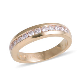 New York Close Out Deal 14K Yellow Gold Diamond (Rnd) (I1-I2/G-H) Half Eternity Band Ring 0.500 Ct.