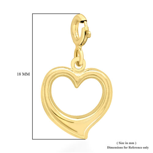 9K Yellow Gold Open Heart Charm