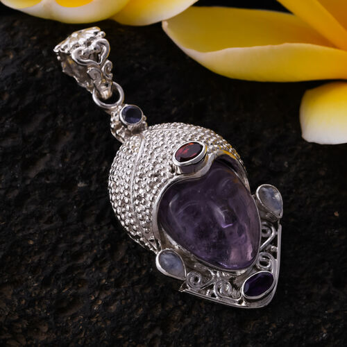 Sajen Silver - Amethyst and Multi Gemstone Devi Danu Handcarved Pendant in Sterling Silver 10.35 Ct, Silver wt. 10.10 Gms