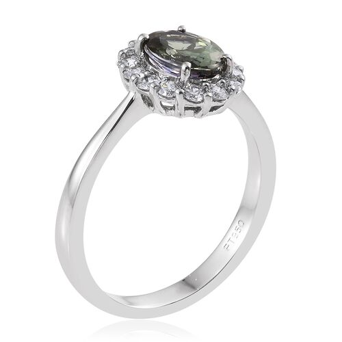 Collectors Edition- RHAPSODY 950 Platinum AAAA Green Tanzanite (Ovl 1.60 Ct), Diamond (VS/E-F) Ring 2.000 Ct.