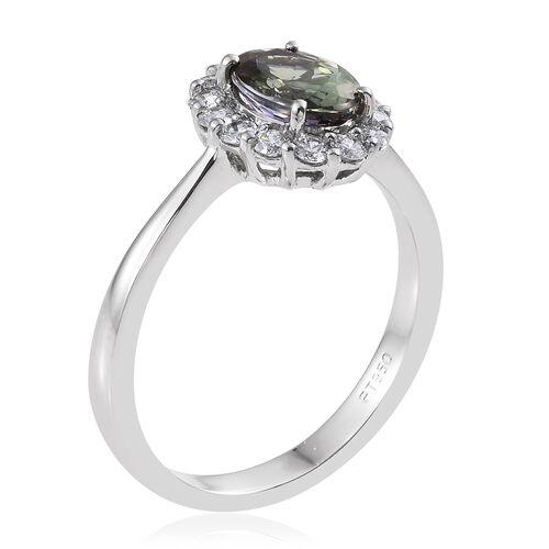 Collectors Edition- RHAPSODY 950 Platinum AAAA Green Tanzanite (Ovl 1.60 Ct), Diamond (VS/E-F) Ring 2.000 Ct.