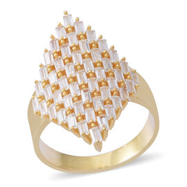 ELANZA Simulated White Diamond (Bgt) Cluster Ring in 14K Gold Overlay Sterling Silver, Silver wt 5.41 Gms.