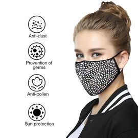 2 Layer Fashion Face Cover Black Reusable Aurora Borealis Crystal Covered