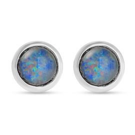 Australian Boulder Opal Stud Earrings (with Push Back) in Rhodium Overlay Sterling Silver