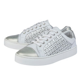 Lotus Leather Cologne Lace-Up Trainers in White Colour