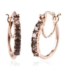 9K Rose Gold SGL Certified Champagne Diamond (I2) Hoop Earrings (with Clasp) 0.50 Ct.