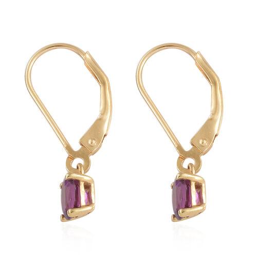 Purple Garnet Lever Back Earrings in Yellow Gold Overlay Sterling Silver
