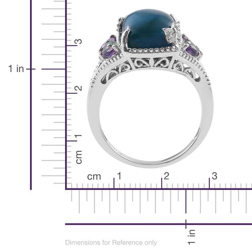 Natural Rare Opalina (Cush 6.00 Ct), Kagem Zambian Emerald, Amethyst and Natural Cambodian Zircon Ring in Platinum Overlay Sterling Silver 6.500 Ct.