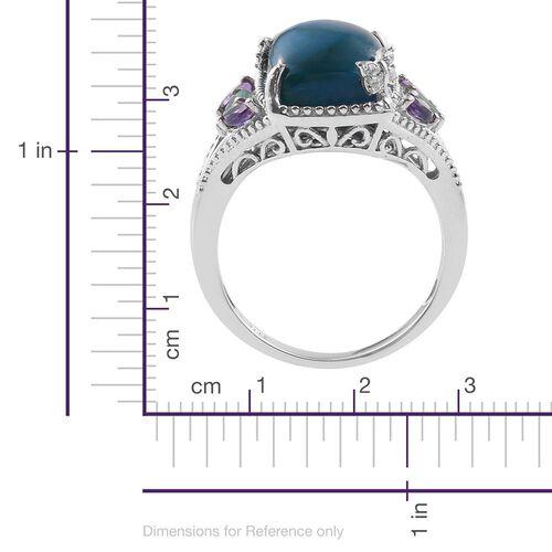 Natural Rare Opalina (Cush 6.00 Ct), Kagem Zambian Emerald, Amethyst and Natural Cambodian Zircon Ring in Platinum Overlay Sterling Silver 6.500 Ct.