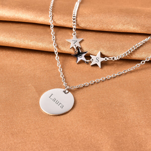 Personalise Engravable Disc & Star Steel Necklace, Size 15+2 Inch, Stainless Steel