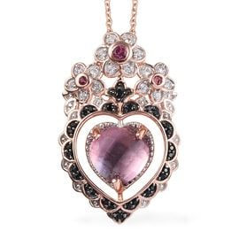 GP Rose De France Amethyst (Hrt), Multi Gemstone Pendant with Chain (Size 18) in Rose Gold Overlay S