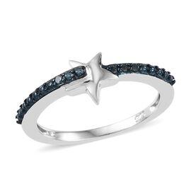 Blue Diamond (Rnd) Star Ring in Platinum Overlay Sterling Silver 0.050 Ct.
