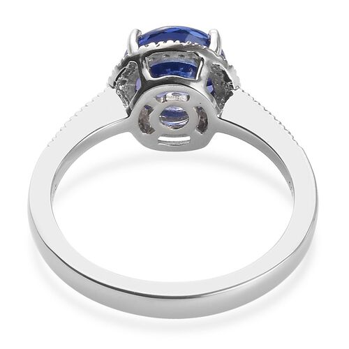 RHAPSODY 950 Platinum AAAA Tanzanite (Rnd 7.5mm), Diamond (VS/E-F) Ring 2.00 Ct. Platinum Wt 5.00 Grams