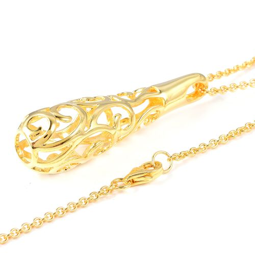 LucyQ Air Drip Pendant With Chain (Size 30) in Yellow Gold Overlay Sterling Silver 12.59 Gms.