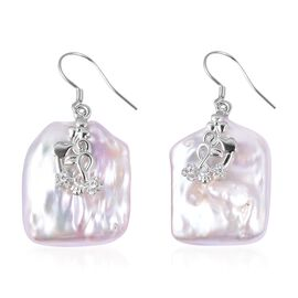 Extremely Rare Organic White Keshi Pearl and Simulated Diamond Hook Earrings in Sterling Silver