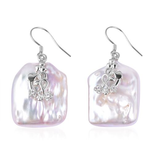 Extremely Rare Organic AA White Keshi Pearl and Simulated Diamond Hook Earrings in Sterling Silver