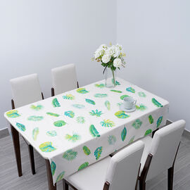 100% Waterproof PVC Table Cloth with Leaves Pattern (Size 200x137cm) - Ivory