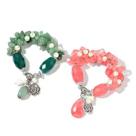 Set of 2- Aventurine, Cherry Quartz, Simulated White Pearl and Multi Colour Beads Stretchable Bracelet (Size 7.50) with Charm in Silver Plated