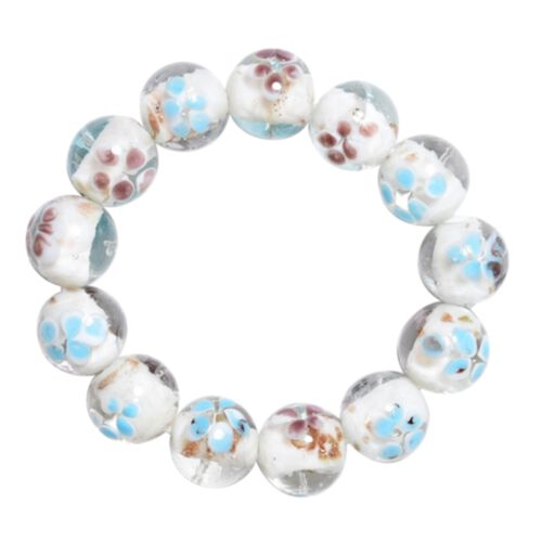 Millefiori Collection- White Colour Murano Style Glass Stretchable Beads Bracelet (Size 7)