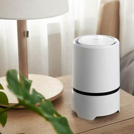 Portable Mini Air Purifier with HEPA & Activated Carbon Filter (Size 12.5x12.5x19.4cm) - White