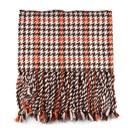 Multipurpose Houndstooth Pattern Narrow Scarf with Tassel (Size:162x27+20Cm) - Brown